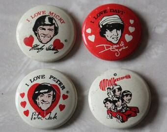 Vintage Monkees Souvenir Pins, 4-Piece Set