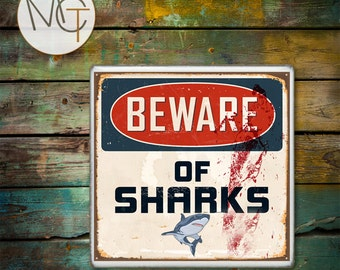 Beware of Sharks Drink Coaster(s), Rusty and Bloody Sign, Hot and Cold Drinks, Price Is For ONE Coaster, Manly, Man Cave, Made To Order