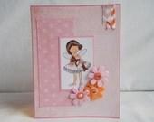Ballerina Card, Paper Handmade Greeting Card, Blank Card, Card Shop, For Her, Flowers, Feminine, Girl Card, For Girls, Pink, Orange, Sparkly