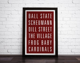 BALL STATE UNIVERSITY  Subway Art Print - Customizable