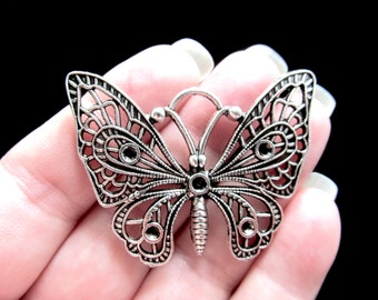 2 Large Filigree Butterfly Charms Pendants Antique Silver Tone Large Charm 47mm x 38mm Zinc Alloy CS-0435