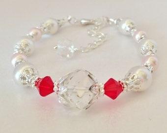 Red Crystal Wedding Bracelet Pink Pearl Bracelet Crystal Bracelet Bridesmaid Gift Red Crystal Jewelry Set Swarovski Elements Red Bridesmaid
