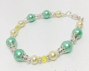 Mint Green Bridesmaid Bracelet Yellow Crystal Bracelet Bridesmaid Gift Pearl Jewelry Wedding Set Lemon Bracelet Mint Green Bridesmaid