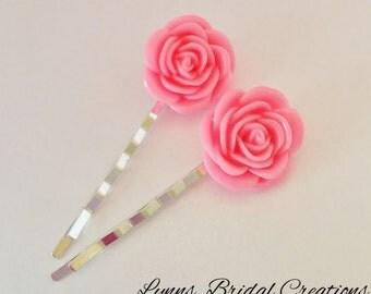 Pink Bridesmaid Hair Pin Pink Hair Accessory Wedding Jewelry Wedding Accessory Bridesmaid Gift Pink Rose Jewelry Pink Rose Hair Pin