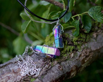 Wire-Wrapped Quartz Crystal Necklace | Rainbow Titanium