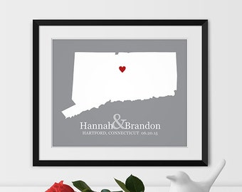 Connecticut State Map Art,  Hartford Connecticut Wedding Gift, Connecticut Map Print, Connecticut State Art,  Connecticut Gift -Any STATE