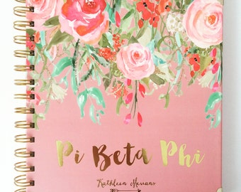 Pi Beta Phi Watercolor Gold Embossed Notebook