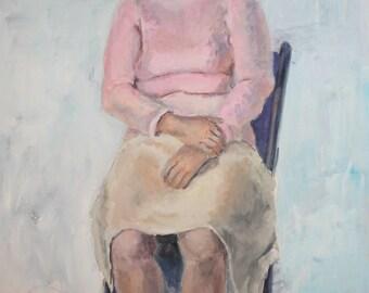 Impressionist lady portrait gouache painting
