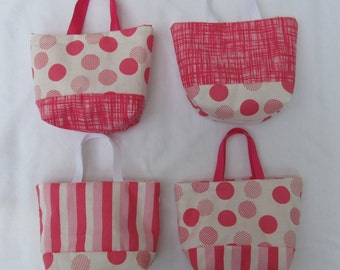 Set of 4 Fabric Gift Bags/ Party Favor Bags/ Easter Goody Bags- Pink and White Polka Dots and Stripes