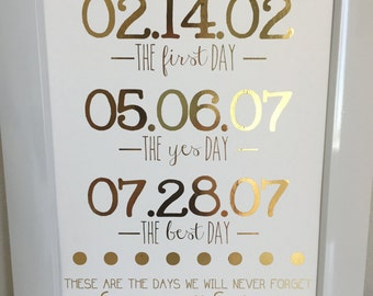 These are the days-First date, the proposal and the wedding-Gold foil print