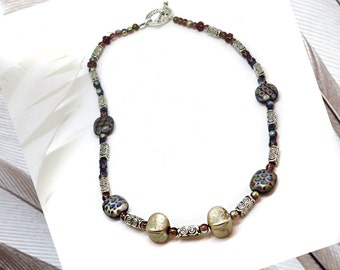 Patterned Glass Bead, 17in Necklace