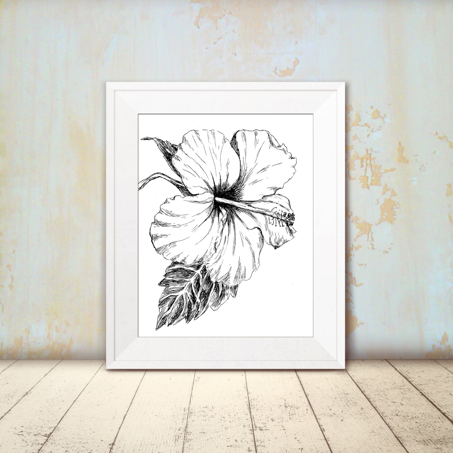 hibiscus sketch black and white flower print printable wall art hipster room decor - Hipster Room Decor
