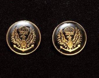 12 Military Style Euro Buttons -- Large & Small -- Black Background w/ Gold Crest Detailing and Back