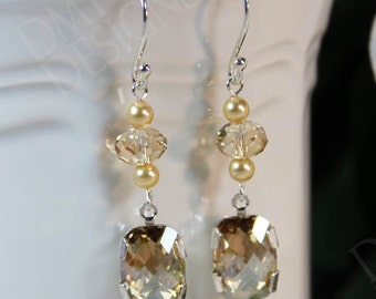 Vintage Elegance Earrings in Crystal Golden Shadow
