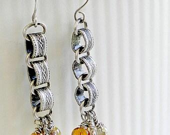 Dangle Chain Earrings - Dangly Chain Earrings - Book Chain Earrings - Yellow Jasper - Antique Silver Earrings - Long Chain Earrings