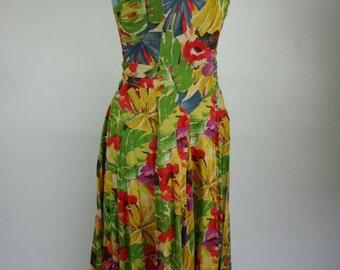 1980s JAG floral cross back dress