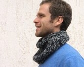 Hipster scarf tube in pure natural wool knitted, hot gray and black melange wool, tube scarf unisex