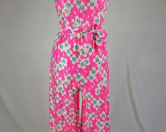 Vintage 1960/70's Handmade Jumpsuit Sleeveless Electric Pink Hippie White Flower Power Floral Flowy Wide Leg Small Medium (496-205)