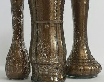 Brown Metallic Vase Set