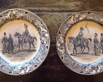 Antique French Creil Plates 1800's, Transfer Ware, Faience, Equestrian Decor,Collectible Plate Napoleonic War,Military Historical,Black Écru