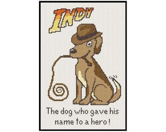 Indiana Jones Dog - Cross Stitch PDF Pattern Instant Download