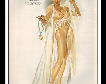 """Vargas Playboy Pinup Girl Vintage March 1969 """"Peace"""" Sexy Brunette Nude Mature White Negligee Pinup Wall Art Deco Print"""