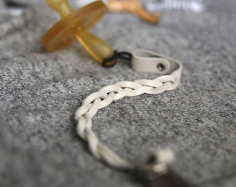 White Braided Leather Pacifier Clip - Single