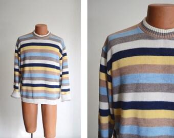 "1970s Striped Crewneck Sweater / Pullover Jumper - 48"" Chest"