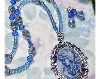 Blue on Blue Cameo Vintage Style Victorian Lady long necklace and earrings set, choose your fittings