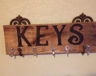 Reclaimed Wood Key Hooks