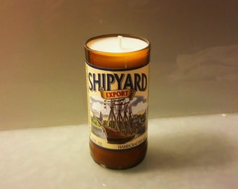 Shipyard Export Beer Bottle Candle, YOU Pick Scent! Hand cut, Hand Polished, Maine made