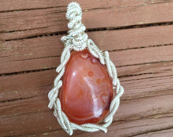 Wire Wrapped Tangerine Quartz Pendant