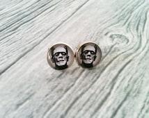 Frankenstein earrings 12mm glass cabochon stud earrings jewelry gift halloween horror geek geeky geekery black and white rockabilly 50's