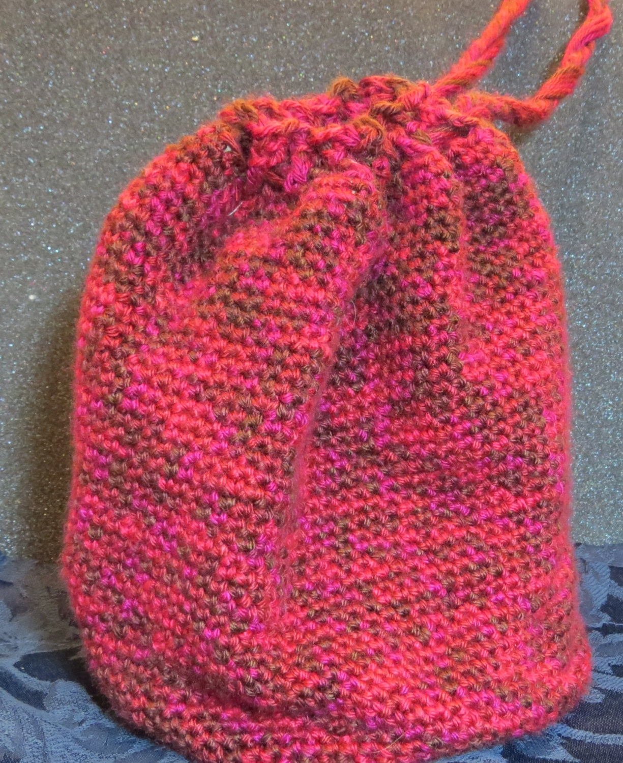 Lining Crochet Bag : Hand crochet drawstring bag. Fully lined. by GenuineParadox