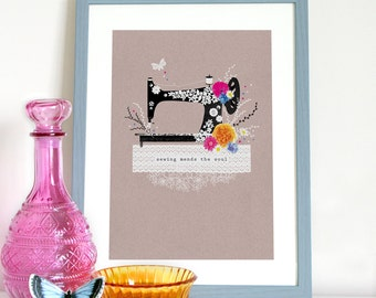 Sewing mends the soul, Singer sewing machine and flowers, sewing print, sewing poster, singers sewing machine print, sewing quote