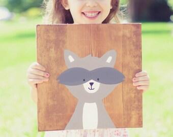 Raccoon Wood Sign, Nursery Art, Children Art, Nursery Decor, Children Decor, Wood Art, Modern Wood Art, Hipster Art, Kid's Decor, Wood Sign
