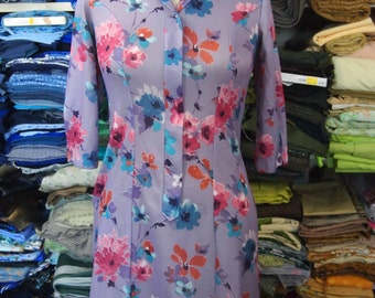 1960s Purple Floral Vintage Mini Dress Size M/L