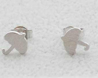 Pair of Little Umbrella Stud Earrings in Sterling Silver Textured Finish Cute and Pretty