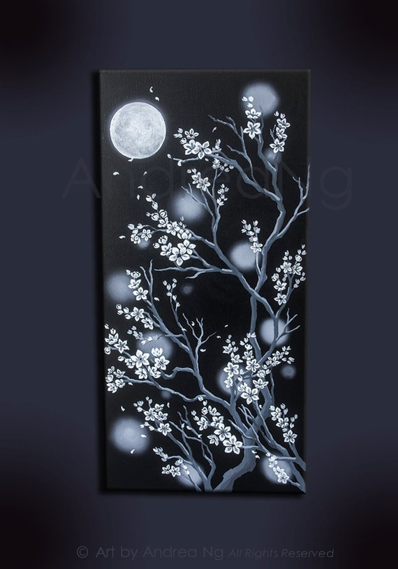 White Cherry Blossoms Moon Original Acrylic by ...