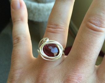 Red topaz gemstone wire wrapped ring