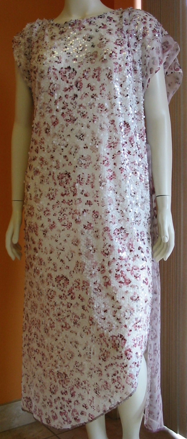 Items similar to Cover up Sheer Sequins Floral Plum Wine White Pink ...
