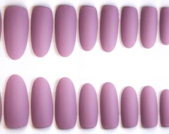 light purple matte fake nails pretty lilac oval stiletto