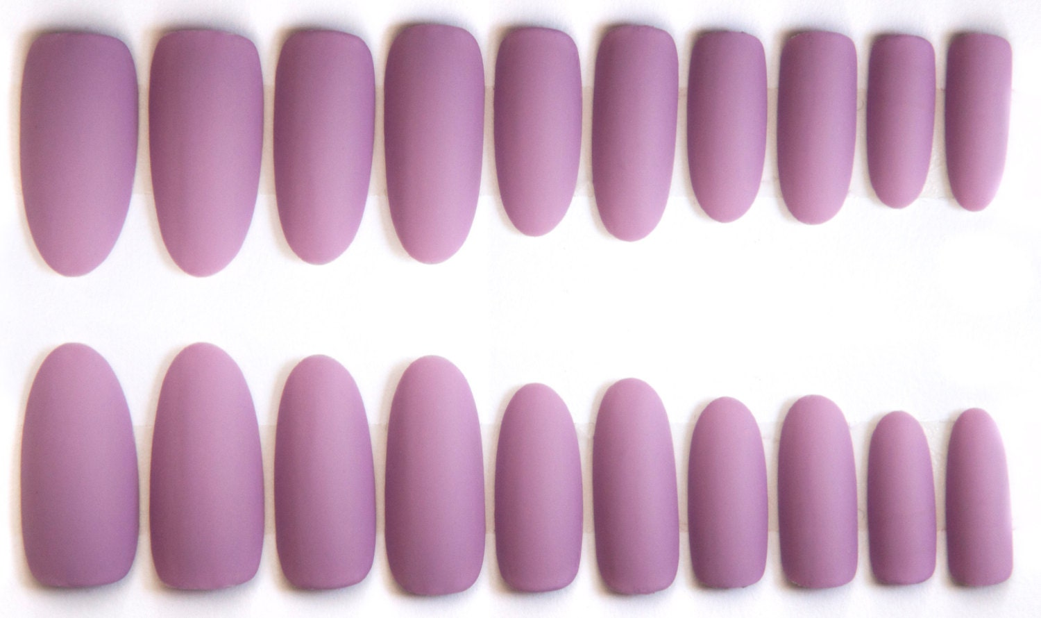 LIGHT PURPLE MATTE FAKE NAILS, PRETTY LILAC OVAL, STILETTO OR COFFIN ...