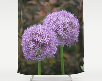 Allium Pair, Shower Curtain,Purple,Green,Bath Curtain,Floral,Bathroom Decor,Accessories,Bathroom Art,Designer Shower Curtain,Interior Design