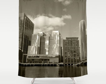 Boston Buildings,Shower Curtain,Grey,White,City,Skyline,BathCurtain,Bathroom Decor,Accessories,Bathroom Art,Designer Curtain,Interior Design