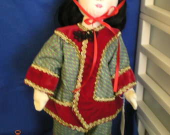 """An of China is a handpainted cloth doll from my International Doll Collection.  He stands 18"""" tall."""