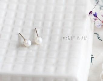 Baby Pearl Earrings 925 Sterling Silver Stud Earrings Tiny Pearl Baby Earrings June Birthstone