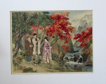 Japanese Color Woodblock Print of Three Figures in a Landscape