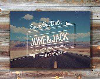 Retro Save the Date Wedding Invites, Desert Save the Date Wedding Invitations, Route 66 Roadtrip Save the Date Invites, 1960s Save the Date