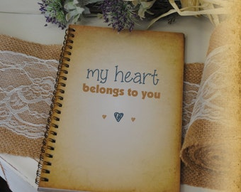 Journal Romance Love - My Heart Belongs To You Custom Personalized Journals Vintage Style Book